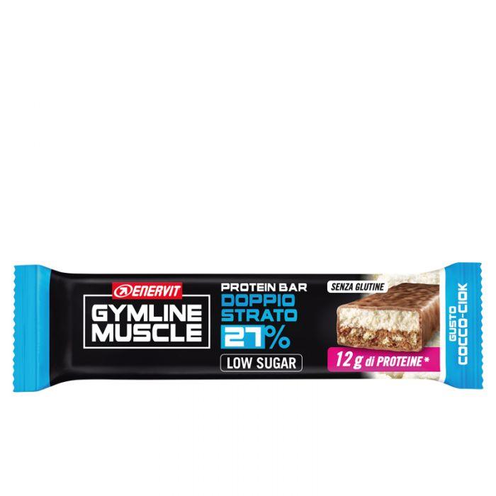 Enervit Gymline Muscle - Protein Bar Doppio Strato 27% Barretta Gusto Cocco-Ciok